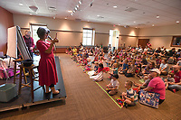 NWA Democrat-Gazette/J.T. WAMPLER Bobby Matthews and Virginia Ralph perform as mšmandpšp Tuesday July 3, 2018 at the Fayetteville Public Library. The show was geared towards preschool aged children. For information about events at the library visit www.faylib.org.