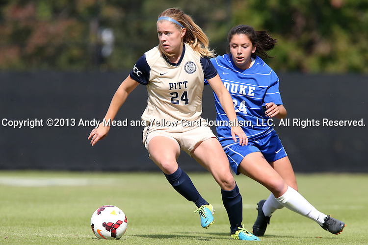 27 October 2013: Pittsburgh's Ella Vanhanen (FIN) (left) and Duke's Mollie Pathman (right). The Duke University Blue Devils hosted the Pittsburgh University Panthers at Koskinen Stadium in Durham, NC in a 2013 NCAA Division I Women's Soccer match. Duke won the game 6-3.