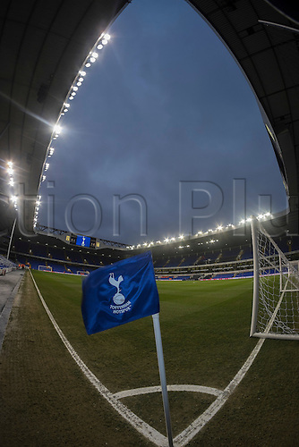 01.01.2015.  London, England. Barclays Premier League. Tottenham versus Chelsea. Windy conditions as the corner flag shows before the game.