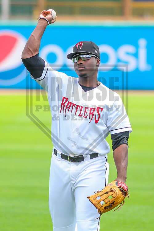Wisconsin Timber Rattlers outfielder Demi Orimoloye (6) warms up prior to a Midwest League game against the Burlington Bees on July 10, 2017 at Fox Cities Stadium in Appleton, Wisconsin.  Burlington defeated Wisconsin 6-3. (Brad Krause/Krause Sports Photography)