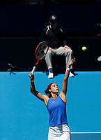 9th November 2019; RAC Arena, Perth, Western Australia, Australia; Fed Cup by BNP Paribas Tennis Final, Day 1, Australia versus France; Caroline Garcia of France serves to Ash Barty of Australia during the second rubber