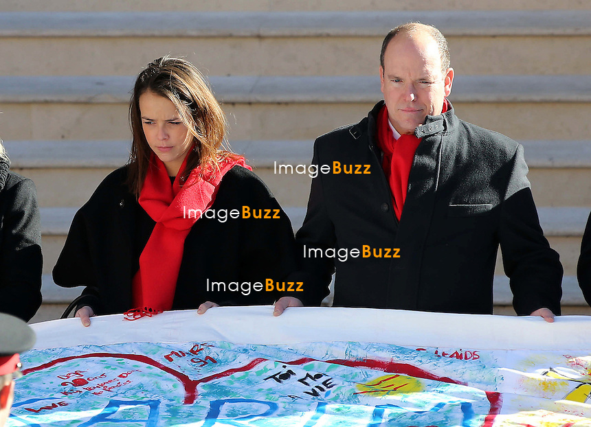 Le Prince Albert II de Monaco, la Princesse St&eacute;phanie et sa fille Pauline Ducruet lors du d&eacute;ploiement des Courtepointes avec FightAids Monaco <br /> Monaco, 29 novembre 2013.<br /> <br /> Prince Albert II of Monaco, Princess Stephanie and her daughter Pauline Ducruet - Operation &quot;Courtepointes&quot; in association with FightAids Monaco <br /> Monaco, November 29, 2013.