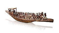 Ancient Egyptian model of a funerary boat with oarsman and a sarcopagus under a canope, Middle Kingdom (1980-1700 BC. Egyptian Museum, Turin. Cat 1209. white background.<br /> <br /> Funerary boats were probably believed to carry the deceased sould to the afterlife. Wooden tomb models were an Egyptian funerary custom throughout the Middle Kingdom in which wooden figurines and sets were constructed to be placed in the tombs of Egyptian royalty.