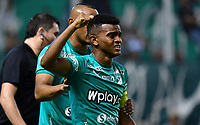 PALMIRA - COLOMBIA, 06-03-2020: Darwin Andrade del Cali celebra después de anotar el segundo gol de su equipo durante partido entre Deportivo Cali y Deportivo Pereira por la fecha 8 de la Liga BetPlay DIMAYOR I 2020 jugado en el estadio Deportivo Cali de la ciudad de Palmira. / Darwin Andrade of Cali celebrates after scoring the second goal of his team during match between Deportivo Cali and Deportivo Pereira for the date 8 as part of BetPlay DIMAYOR League I 2020 played at Deportivo Cali stadium in Palmira city. Photo: VizzorImage / Nelson Rios / Cont