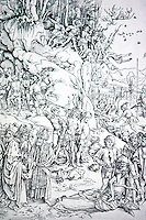 Visual Arts:  Albrecht Durer--Martyrdom of the 10,000. Woodcut, 1498.  From a legend concerning the martydom of 10,000 during the Reign of Diocletian.
