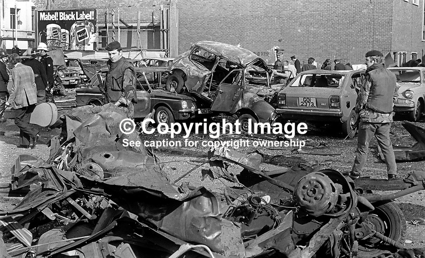 Thirty, 30, cars were wrecked in this Provisional IRA bomb attack on 17th September 1973 In a car park at the junction of Divis Street &amp; Hamill Street, Belfast, N Ireland. 197309170591<br />