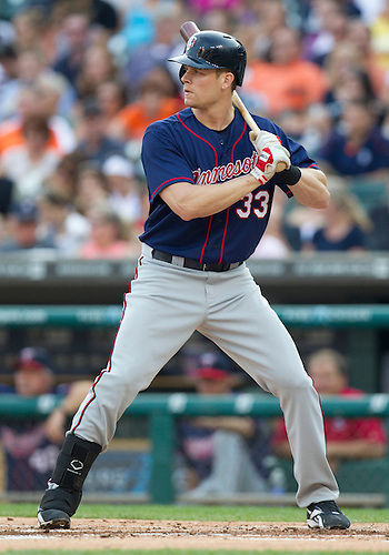 July 02, 2012:  Minnesota Twins first baseman Justin Morneau (33) at bat during MLB game action between the Minnesota Twins and the Detroit Tigers at Comerica Park in Detroit, Michigan.  The Twins defeated the Tigers 6-4.