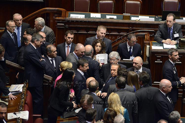 Roma, 18 Aprile 2013.Camera dei Deputati.Votazione del Presidente della Repubblica a camere riunite.Deputati e Senatori del PDL..Silvio Berlusconi
