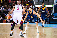 Spain's basketball player Sergio Rodriguez and Venezuela's basketball player Gregory Vargas during the  match of the preparation for the Rio Olympic Game at Madrid Arena. July 23, 2016. (ALTERPHOTOS/BorjaB.Hojas) /NORTEPHOTO.COM