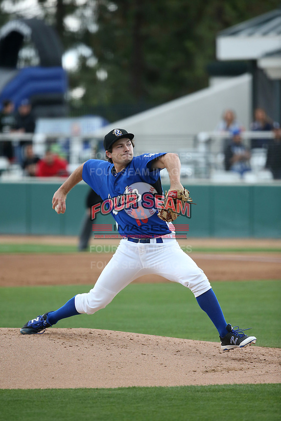 Tommy Bergjans (13) of the Rancho Cucamonga Quakes pitches against the Lake Elsinore Storm at LoanMart Field on April 10, 2016 in Rancho Cucamonga, California. Lake Elsinore defeated Rancho Cucamonga, 7-6. (Larry Goren/Four Seam Images)