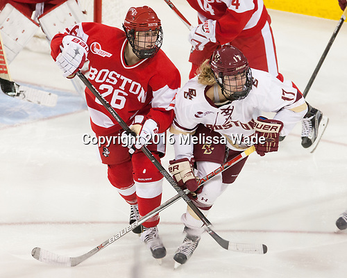 Connor Galway (BU - 26), Delaney Belinskas (BC - 17) - The Boston College Eagles defeated the visiting Boston University Terriers 5-3 (EN) on Friday, November 4, 2016, at Kelley Rink in Conte Forum in Chestnut Hill, Massachusetts.The Boston College Eagles defeated the visiting Boston University Terriers 5-3 (EN) on Friday, November 4, 2016, at Kelley Rink in Conte Forum in Chestnut Hill, Massachusetts.