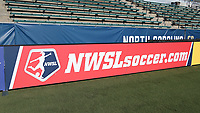Cary, North Carolina  - Saturday August 05, 2017: NWSLsoccer.com signboard prior to a regular season National Women's Soccer League (NWSL) match between the North Carolina Courage and the Seattle Reign FC at Sahlen's Stadium at WakeMed Soccer Park. The Courage won the game 1-0.