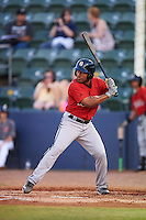 Birmingham Barons second baseman Marcus Lemon (2) at bat during a game against the Biloxi Shuckers on May 23, 2015 at Joe Davis Stadium in Huntsville, Alabama.  Birmingham defeated Biloxi 2-0 as the Shuckers are playing all games on the road, or neutral sites like their former home in Huntsville, until the teams new stadium is completed.  (Mike Janes/Four Seam Images)