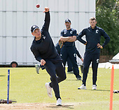 Cricket Scotland - Scotland training at Ayr CC ahead of this week's 4 day Intercontinental Cup match against Namibia - the match begins tomorrow (Tuesday) with an 11am start on each day - Mark Watt net bowling - picture by Donald MacLeod - 05.06.2017 - 07702 319 738 - clanmacleod@btinternet.com - www.donald-macleod.com
