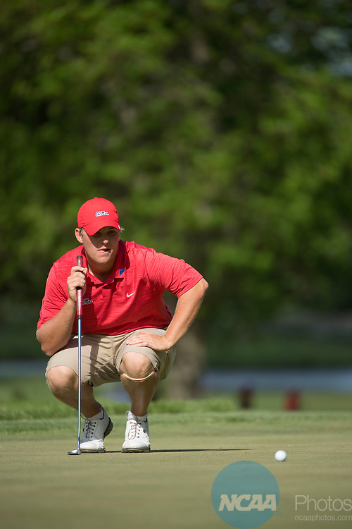 SUGAR GROVE, IL - MAY 29: Braden Thornberry of Ole Miss lines up a putt during the Division I Men's Golf Individual Championship held at Rich Harvest Farms on May 29, 2017 in Sugar Grove, Illinois. Thornberry won the individual national title with a -11 score. (Photo by Jamie Schwaberow/NCAA Photos via Getty Images)