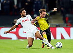 Tottenham's Mousa Dembele tussles with Dortmund's Mario Gotze during the champions league match at Wembley Stadium, London. Picture date 13th September 2017. Picture credit should read: David Klein/Sportimage