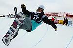 2011 FIS Snowboard World Cup  Championships , halfpipe qualification men's, La Molina. Pictue show Patrick Burgener. SUI FIS SNOWBOARD WORLD CHAMPIONS LA MOLINA