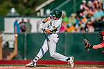 29 July 2018: Vermont Lake Monsters outfielder Devin Foyle singles in the 4th inning against the Batavia Muckdogs at Centennial Field in Burlington, Vermont. The Lake Monsters defeated the Muckdogs 4-1 in NY Penn League action. Mandatory Credit: Ed Wolfstein Photo *** RAW (NEF) Image File Available ***