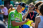Pascal Ackermann (GER) Bora-Hansgrohe with fans at sign on before Stage 3 of the Deutschland Tour 2019, running 189km from Gottingen to Eisenach, Germany. 31st August 2019.<br /> Picture: ASO/Marcel Hilger | Cyclefile<br /> All photos usage must carry mandatory copyright credit (© Cyclefile | ASO/Marcel Hilger)