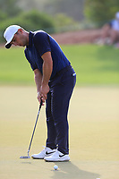 Francesco Molinari (ITA) on the 15th green during the 2nd round of the DP World Tour Championship, Jumeirah Golf Estates, Dubai, United Arab Emirates. 16/11/2018<br /> Picture: Golffile | Fran Caffrey<br /> <br /> <br /> All photo usage must carry mandatory copyright credit (© Golffile | Fran Caffrey)