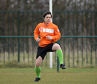 20150226 - Tubize , Belgium : assistant referee Berengere Pierart pictured during the friendly female soccer match between Women under 17 teams of  Belgium and Scotland  . Thursday 26th February 2015 . PHOTO DAVID CATRY