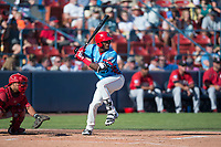 Spokane Indians right fielder Starling Joseph (39) at bat in front of catcher Yorman Rodriguez (13) during a Northwest League game against the Vancouver Canadians at Avista Stadium on September 2, 2018 in Spokane, Washington. The Spokane Indians defeated the Vancouver Canadians by a score of 3-1. (Zachary Lucy/Four Seam Images)