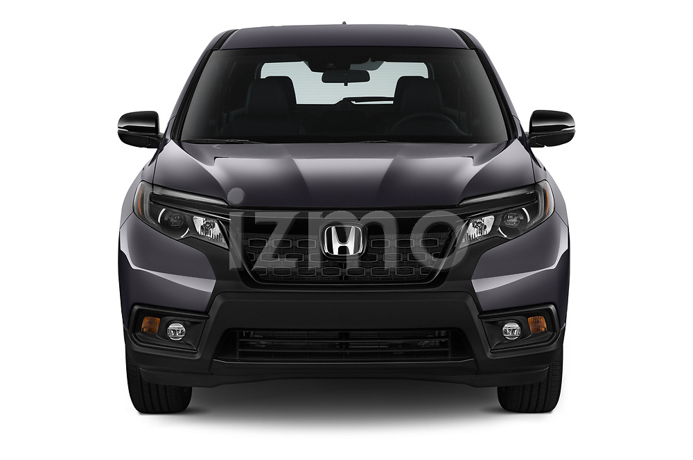 Car photography straight front view of a 2019 Honda Passport Sport 5 Door SUV Front View