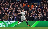 Zlatan Ibrahimovic of Paris Saint-Germain celebrates his goal during the UEFA Champions League Round of 16 2nd leg match between Chelsea and PSG at Stamford Bridge, London, England on 9 March 2016. Photo by Andy Rowland.