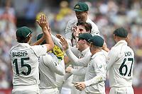 28th December 2019; Melbourne Cricket Ground, Melbourne, Victoria, Australia; International Test Cricket, Australia versus New Zealand, Test 2, Day 3; Australian players celebrate Pat Cummins' wicket - Editorial Use