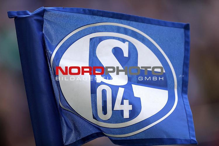 10.04.2016, Veltins Arena, Gelsenkirchen, GER, 1.FBL, FC Schalke 04 vs Borussia Dortmund<br /> Schalke Logo auf der Eckfahne<br /> Foto &copy; nordphoto /  Bratic