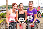 Ciara Russell and Angela Manning (Ventry) with Aisling O'Sullivan (Lispole) at the start of the Dingle Half Marathon on Saturday afternoon.