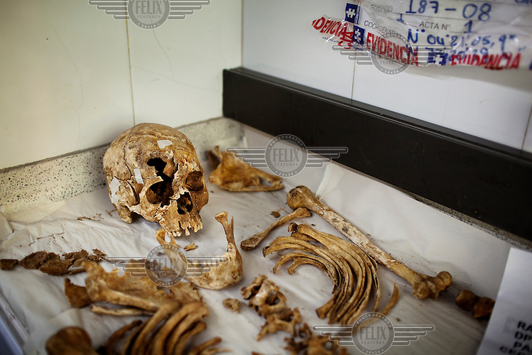 Human remains and bones at the headquarters of the Colombian Attorney General where they wait to be identified as the remains of the bodies of the disappeared. Investigations lead to exhumations; the unidentified remains then come to this lab, where a team of forensic experts analyze them for identity markers. Investigators believe the remains of 15,000 are in the jungle waiting to be discovered.