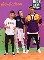 LOS ANGELES, CA July 13- Daan Creyghton, MaeMae Renfrow, Stony Blyden, At Nickelodeon Kids' Choice Sports Awards 2017 at The Pauley Pavilion, California on July 13, 2017. Credit: Faye Sadou/MediaPunch