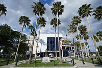 An outside view of the ballpark during a Tampa Yankees game against the Fort Myers Miracle on April 12, 2017 at George M. Steinbrenner Field in Tampa, Florida.  Tampa defeated Fort Myers 3-2.  (Mike Janes/Four Seam Images)
