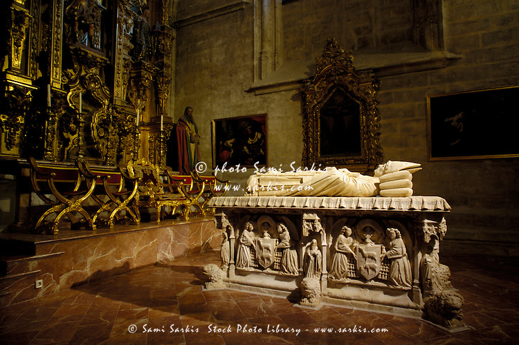 Papal tomb inside a chapel of the Seville Cathedral, Seville, Andalusia, Spain.
