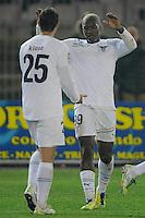 """Miroslav Klose e Djibril Cisse' Lazio Esultanza.Celebration.Lecce 10/12/2011 Stadio """"Via del MAre"""".Football Calcio Serie A 2011/2012.Lecce Vs Lazio.Foto Insidefoto ."""