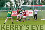 Kerry Brendan O'Sullivan sucks in Cork  defenders Kieran Histon and Stephen Cronin to set up Jack Savage during the McGrath cup clash in Mallow on Sunday