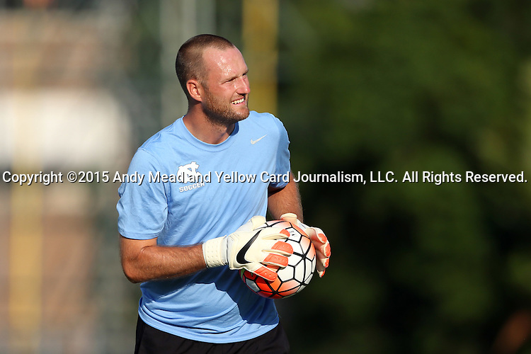 14 August 2015: UNC assistant coach Chris Rich. The University of North Carolina Tar Heels hosted the Winthrop University Eagles at Fetzer Field in Chapel Hill, NC in a 2015 NCAA Division I Men's Soccer preseason exhibition. North Carolina won the game 4-1.