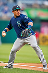 23 May 2017: Seattle Mariners catcher Carlos Ruiz warms up with infield drills prior to facing the Washington Nationals at Nationals Park in Washington, DC. The Nationals defeated the Mariners 10-1 to take the first game of their inter-league series. Mandatory Credit: Ed Wolfstein Photo *** RAW (NEF) Image File Available ***