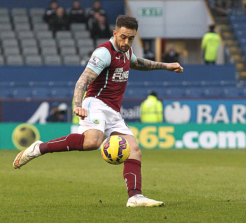 Burnley's Danny Ings<br /> <br /> Photographer Rich Linley/CameraSport<br /> <br /> Football - Barclays Premiership - Burnley v Swansea City - Friday 27th February 2015 - Turf Moor - Burnley<br /> <br /> &copy; CameraSport - 43 Linden Ave. Countesthorpe. Leicester. England. LE8 5PG - Tel: +44 (0) 116 277 4147 - admin@camerasport.com - www.camerasport.com
