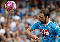 Napoli's Gonzalo Higuain     in action during the Italian Serie A soccer match between SSC Napoli and AC Fiorentina  at San Paolo stadium in Naples,October 18, 2015