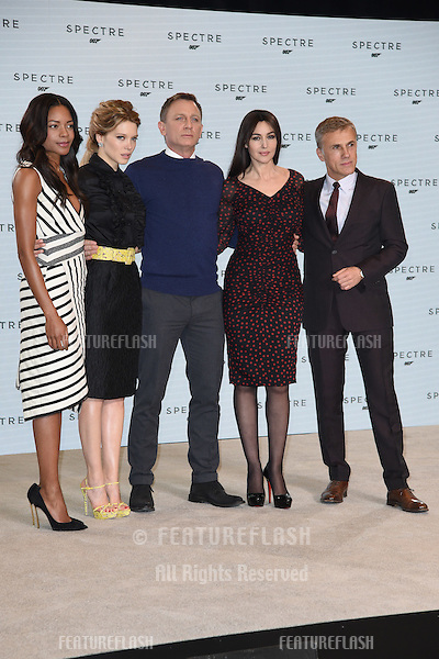 "Naomie Harris, Lea Seydoux, Daniel Craig, monica Bellucci and Christoph Waltz at the announcement of the start of filming on the new James Bond movie ""Spectre"" at Pinewood Studios, London. 04/12/2014 Picture by: Steve Vas / Featureflash"