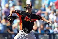 Baltimore Orioles pitcher Zach Phillips #58 delivers a pitch during a spring training game against the Tampa Bay Rays at the Charlotte County Sports Park on March 5, 2012 in Port Charlotte, Florida.  (Mike Janes/Four Seam Images)