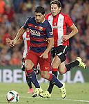 FC Barcelona's Luis Suarez (l) and Athletic de Bilbao's Gorka Elustondo during Supercup of Spain 2nd match.August 17,2015. (ALTERPHOTOS/Acero)