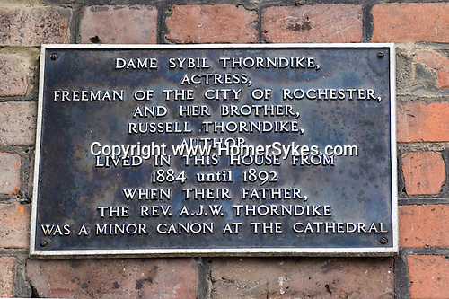 Rochester Kent. UK. Minor Canon Row. Dame Sybil Thorndike actress and Russell Thorndike author.