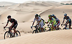 Newly crowned World Champion Peter Sagan (SVK) Tinkoff-Saxo in action amidst the sand dunes of the Rub al Khali desert during Stage 1, The ADNOC Stage, of the 2015 Abu Dhabi Tour, running 174 km from Qasr Al Sarab to Madinat Zayed, Abu Dhabi. 8th October 2015.<br /> Picture: ANSA/Claudio Peri | Newsfile