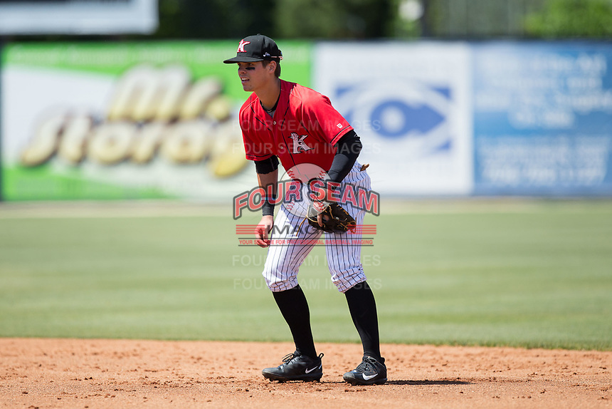 Kannapolis Intimidators second baseman Mitch Roman (10) on defense against the Asheville Tourists at Kannapolis Intimidators Stadium on May 7, 2017 in Kannapolis, North Carolina.  The Tourists defeated the Intimidators 4-1.  (Brian Westerholt/Four Seam Images)