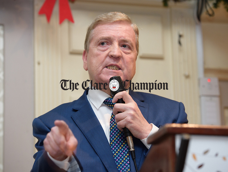 Pat Breen, TD, speaking at the Clare Fine Gael selection convention in the Auburn Lodge hotel, Enis. Photograph by John Kelly.