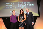 Wales Sport Awards 2013<br /> Adele Nicoll receiving her award from Laura McAllister & Rhodri Talfan Davies<br /> 09.11.13<br /> ©Steve Pope-SPORTINGWALES