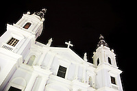 The Ponce Cathedral at night at the Plaza Las Delicias in Ponce, Puerto Rico on 2nd January 2012.
